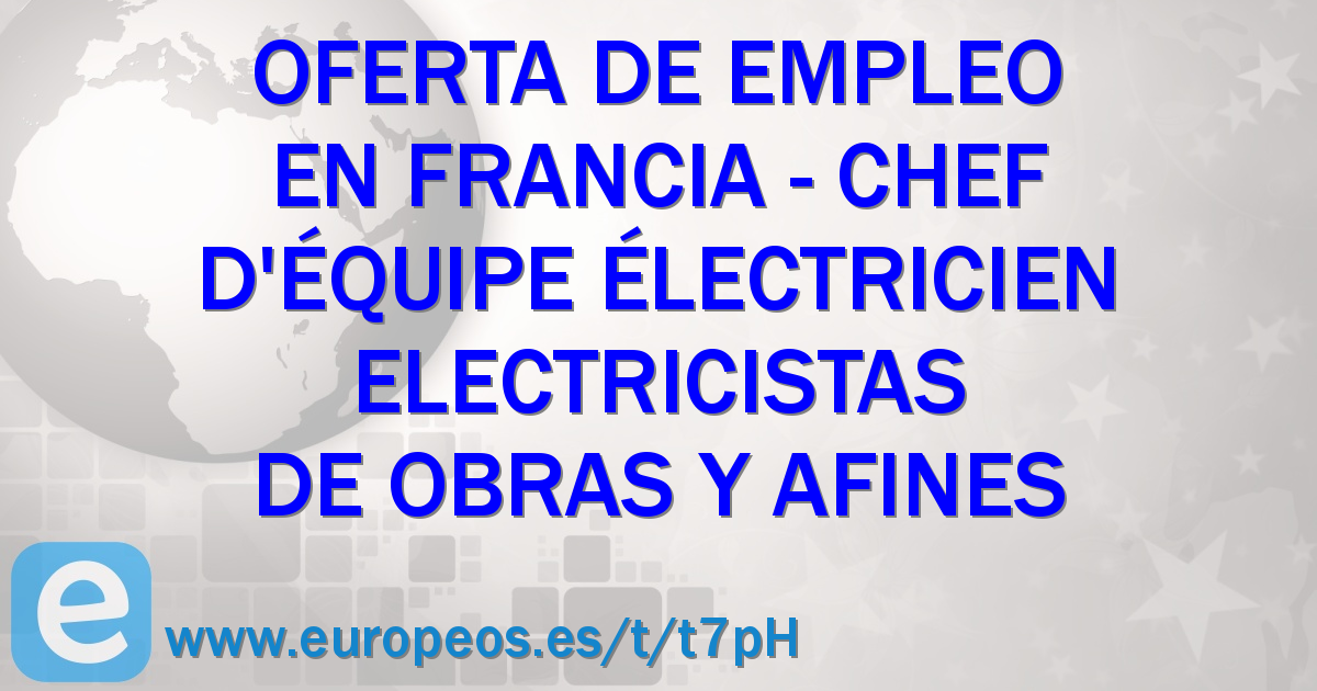 electricien chef d equipe