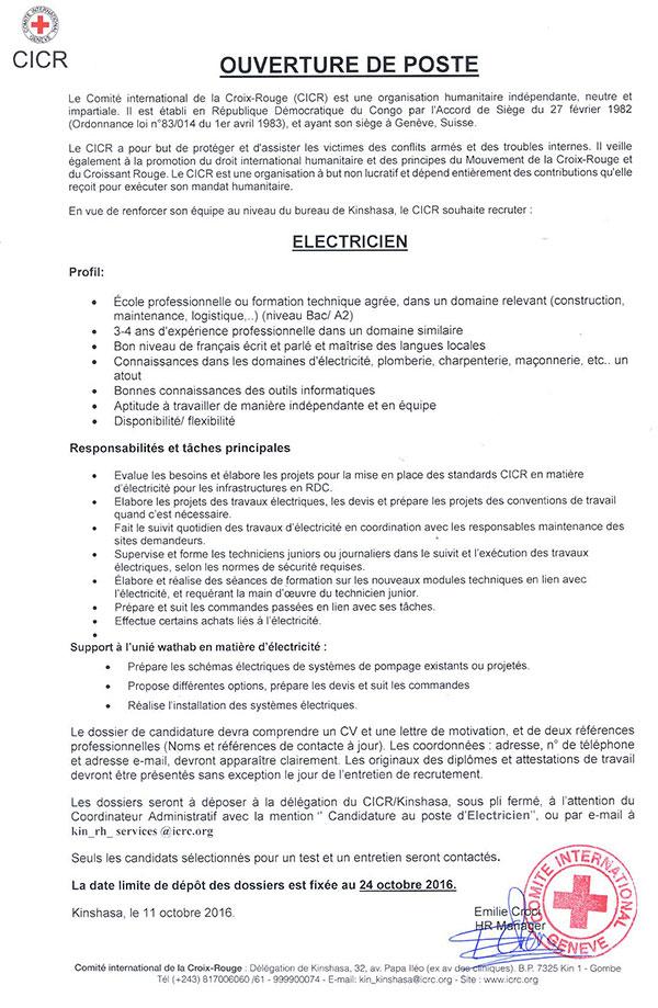electricien offre d'emploi