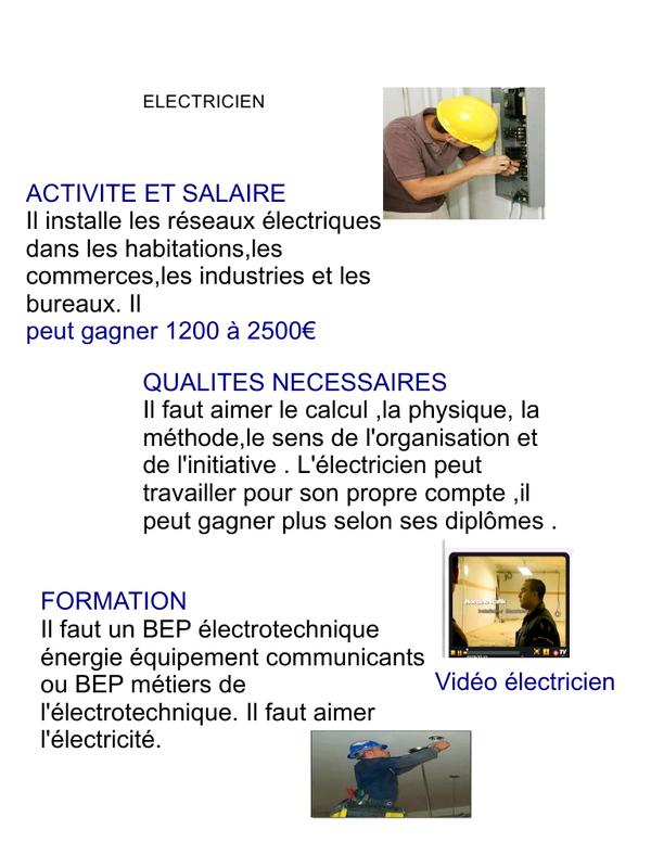 electricien fiche metier